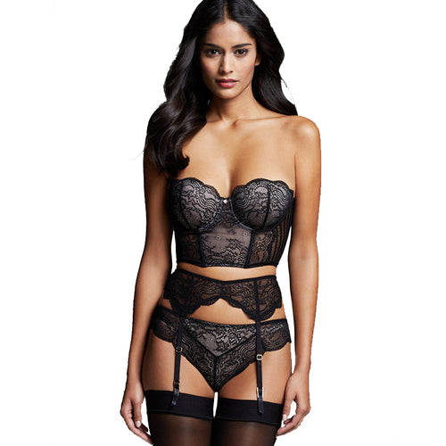 Bra + Garterbelt + Panty 3 Pieces Lace Underwear Set Women Erotic Lingerie Set Bralette Black Garter Sex Bra Set