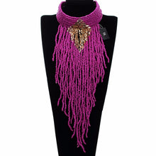 Bk Multicolor Fashion Necklace  Resin Seed Beads Long Tassels Choker Jewelry Chain Pendant Bib Long Necklace