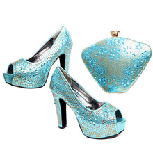 Blue Color African Matching Shoes and Bags Italian In Women Sales In Women Matching Shoes and Bag Set Decorated with Rhinestone