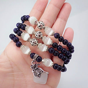 Blue sand stone beads bracelets for women opal beads bracelet jewelry with purple pendant vintage jewelry 0706