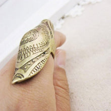 Boho Carving  Retro Punk Individuality 2 Colors Shield Joint knuckle Ring  Vintage Women