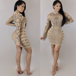 Chic product women diamonds sexy dress long sleeve slim package party dress elegant mini dress K8496
