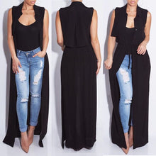Chiffon Women Cardigan Blouses Shirt 2017 Casual Summer Turn-Down Collar Sleeveless Maxi Long Blouse Silk Shirt Cover Up Sashes
