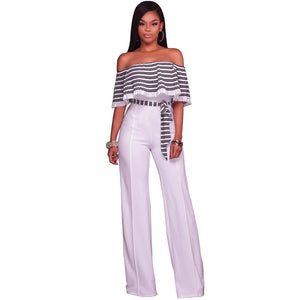 Classical striped print ruffles slash neck women jumpsuits Summer hot selling sashes fashion ladies palazzo jumpsuit MOS-M610