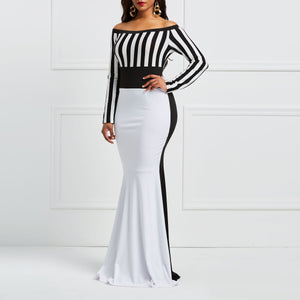 Clocolor Sheath Dress Elegant Women Off Sholuder Long Sleeve Stripes Color Block White Black Bodycon Maxi Mermaid Party Dress