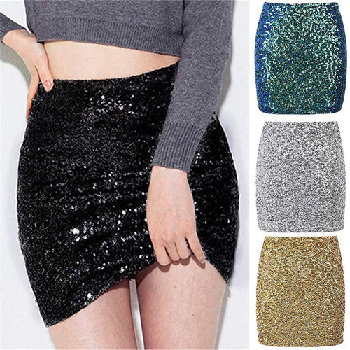 Clubwear skirts for women sexy summer bodycon pencil sequined mini skirts femme girl high waist Zipper Slim Fit Clothes 2019 New