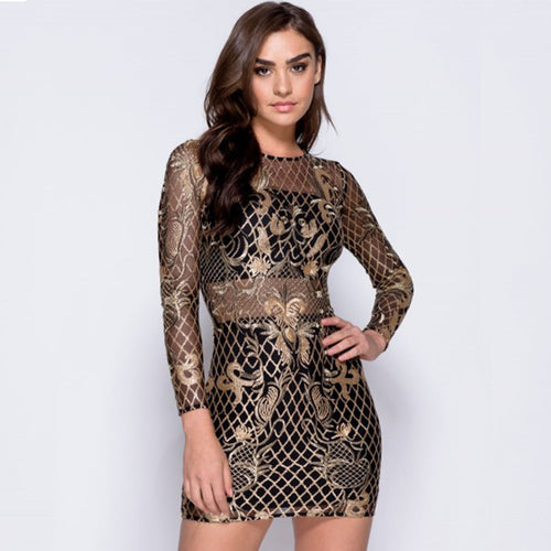 Colysmo Women Winter Dress Long Sleeve Sequin Dress Gold Autumn Sexy  Bodycon Dress Party Dresses Christmas f4eb91872868