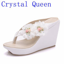 Crystal Queen Summer Women's Flip-Flop Sandals Platform Flip Flops Slippers Sandals Swing Wedges Women Shoes Plus Size