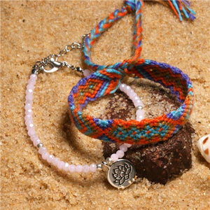 DIEZI Bohemian Anklets Girls Ethnic Beads Stone Handmade Rope Chain Anklet Vintage Tassel Lotus Bracelets for Women Jewelry