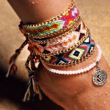 DIEZI Vintage Summer Beach Girls Anklet Ethnic Beads Stone Weave Handmade Rope Chain Anklet Vintage Bracelets for Women Jewelry