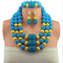 Deep Blue African Beads Fashion Jewelry Sets Nigerian Wedding Beads Necklace Jewelry Set 3 Row Crytals 2017 New Arrival