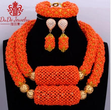 Delicate Orange Nigerian Beads Jewelry Sets Christmas Necklace Set of Jewelry African Jewelry Set Crystal Bridal Wedding Beads