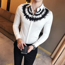 Digital Printed Casual Shirt Men Long Sleeve New 2018 Korean Dress Slim Fit Tuxedo Shirts Male Fashion Night Club Work Shirt Men