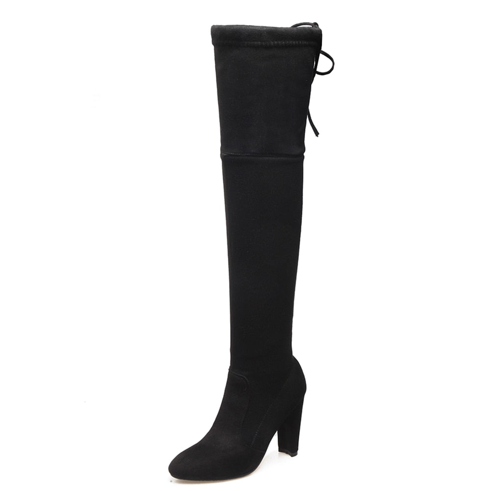 DoraTasia brand new women's shoes woman boots large sizes 33-46 autumn winter over knee boots high heels sexy party boots women