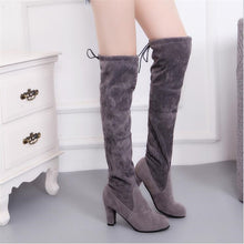 ELGEER  2018 Female Winter Thigh High Boots Faux Suede Leather High Heels Women Over The Knee Botas Mujer Shoes Plus Size 34-41