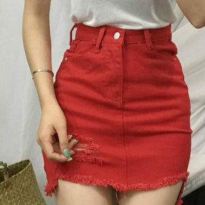 Irregular Hole Female Denim Skirts Summer Slim Faldas Mujer Solid High Waist Saia Jeans Casual A-line Skirts S-L 2017