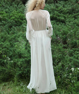 Elegant White Chiffon Floor-Length Dress Women 2018 New Summer Beach Dresses Long Sleeve Female White Floor-Length Dresses Ma421