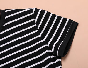 Enough Stock Summer Round Neck Short-sleeved Dress Black And White Striped Dresses Casual Elegant Sheath Slim Dress Dropshipping