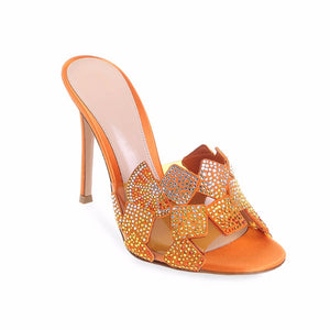Eunice Choo Crystal Hot Fix Rhinestone Slip On Women Summer Mules Orange Gold Luxury PVC Patchwork Slippers Elegant High Heels
