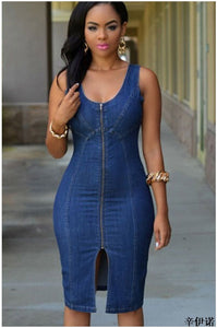 European&American New Women Fashion Deep V Neck Plunge Sexy Denim Blue Jean Front Zipper Sleeveless Mini Shirt Dress Vestido