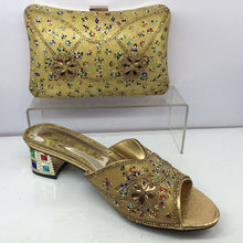 Evening Shoes and Bag Set Green Color Matching Italian Shoes and Bag Set Decorated with Rhinestone African Party Shoes and Bag