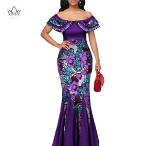 Fashion African Print Long Mermaid Dress for Women Bazin Rich Patchwork Peter Pan Colla Dresses African Design Clothing WY3272