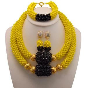 Fashion Dubai Bracelet Earrings Set Indian Bridal African Crystal Beads Jewelry Set Nigerian Beads Necklace For Weddings