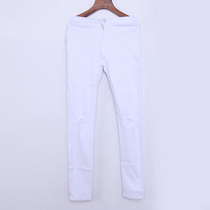Fashion Ladies Cotton Pants Mid Waist Skinny Fashion Jeans for Women Hole Vintage Girls Slim Ripped Denim Pencil Pants