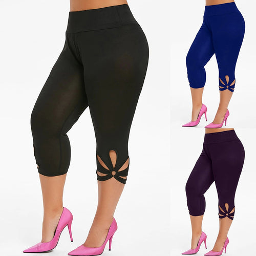 Fashion Leggings Women Plus Size Solid Hollow Elastic Waist Casual Plus size Leggings Pants Jeggings Leggins mujer W10