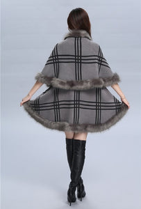 Fashion Tartan Plaid Cashmere Fox Fur Cape Coat Long Double Layer Faux Fur Poncho Shawl Cloak Women Autumn Winter 9 Colors