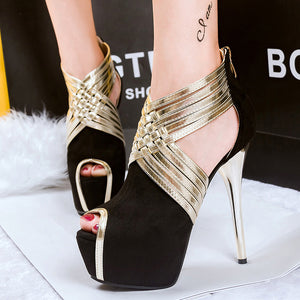 Fashion Ultra High Heels Women's Shoes Sexy Cross-Strap Women's Platform Pumps Gladiator Summer Sandals Zip Peep Toe 34--44