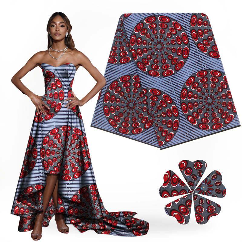 Fashionable African Super Hollandais Wax With Stones Unique Ankara Fabric Material 100% Cotton 6Yards / Lot H1710