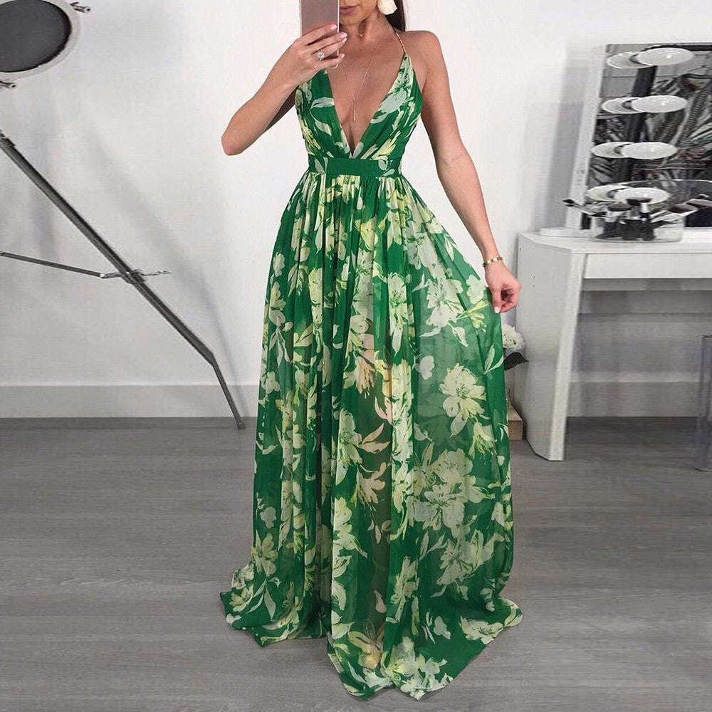 FeiTong Chiffon off shoulder maxi dress women Deep v backless long dress summer 2018 Casual beach floral dress female vestidos