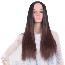 Feilimei Ombre Gray Wig Synthetic 24 Inch 280g Long Straight Hair Full Head Black Blue Purple Gray Brown Colored Cosplay Wigs