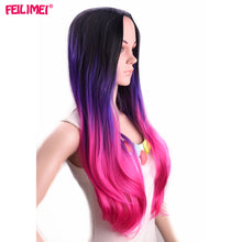 Feilimei Ombre Gray Wigs Synthetic High Temperature Fiber Long Wavy Famale Hair 60cm 300g Grey Purple Colored Cosplay Women Hair