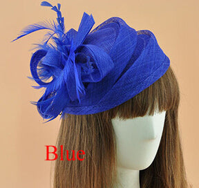 Formal Cocktail Party Wedding Hat Dress Fedoras Ladies Royal Fascinator Women Cocktail Race Feather Hat Wedding Hair Accessories