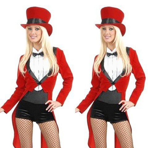 Free Shipping Fashion Women Red Long Sleeve Swallow- tailed Magician Costumes, Sexy Halloween Cosplay Costumes