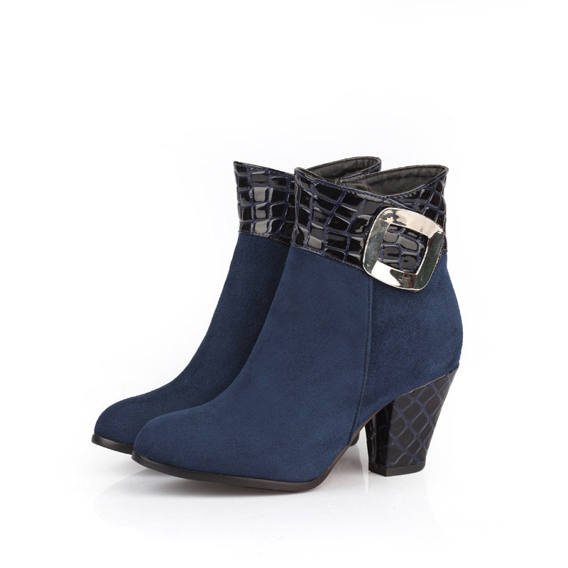 GENSHUO Women's Shoes Ankle Boots Chunky Block Heel 7cm Metal Buckle Round Toe Short Plush Winter Women's Boots Black Big Size