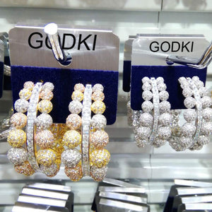 GODKI  Luxury Ball Connected Full Mirco Paved Microl Zirconia Naija Wedding Earring Fashion Jewelry
