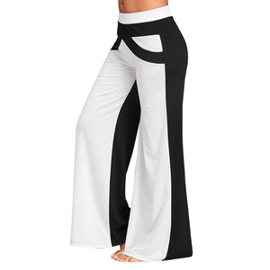 Gamiss Causal Wide Leg Pants With Color Block Women Pants Mid Elastic Waist Pants Loose Straight Flat Trousers Long Trousers