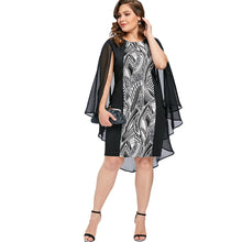 Gamiss Large Plus Size Print Cape Bobycon Dress Elegant Party Club Dresses Robe Femme Spring O Neck Sleeveless Dress Vestidos