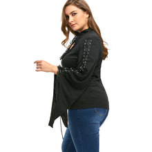 Gamiss Novelty Plus Size Flounced Lace Up Keyhole Top Gothic Women Autumn Winter Shirts Fashion Casual Keyhole Neck 5XL