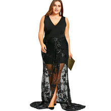 Gamiss Plus Size 5XL 4XL Front Slit Sequined Party Dress Women Sleeveless V-Neck Black New Year Eve Dress Female Maxi Vestidos
