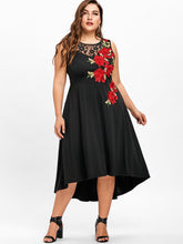Gamiss Plus Size 5XL Floral Embroidery High Low Vintage Party Dress Vestidos Mujer Sleeveless Mid-Calf Ladies Lace Trim Dress