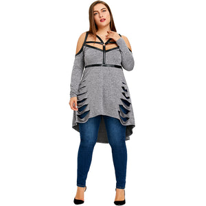 Gamiss Plus Size Strap High Low Ripped Long Top Cut Out Ripped T-Shirt Women Big Sexy T Shirt 2018 Top Tee Large Size 5XL
