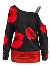 Gamiss Valentine Women Casual Plus Size 5XL One Shoulder Floral Top Color Block Long Sleeve T Shirts Fashion Women Tunic Tops