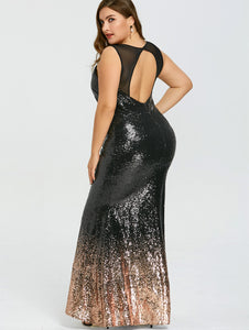 Gamiss Women 2018 Plus Size XL-5XL Open Back Sparkly Formal Dress Fashion Sleeveless Maxi Dress Party Vestidos Sequined Sundress
