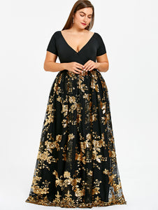 Gamiss Women Plus Size 5XL Floral Sparkly Maxi Prom Sequined Dress Sexy  Deep V Neck Short a9eece146fc0