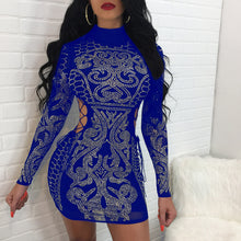 Geometry Rhinestone Long Sleeve Bodycon Dress Women Sexy Hollow Out Turtleneck Retro Party Club Bandage Mini Dress Vestidos