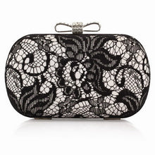 Good Hollow Lace Clutch Bag New Lace Satin Evening Bags High-Grade Silk Bow Party Bag Exquisite Day Clutches 3 Colors